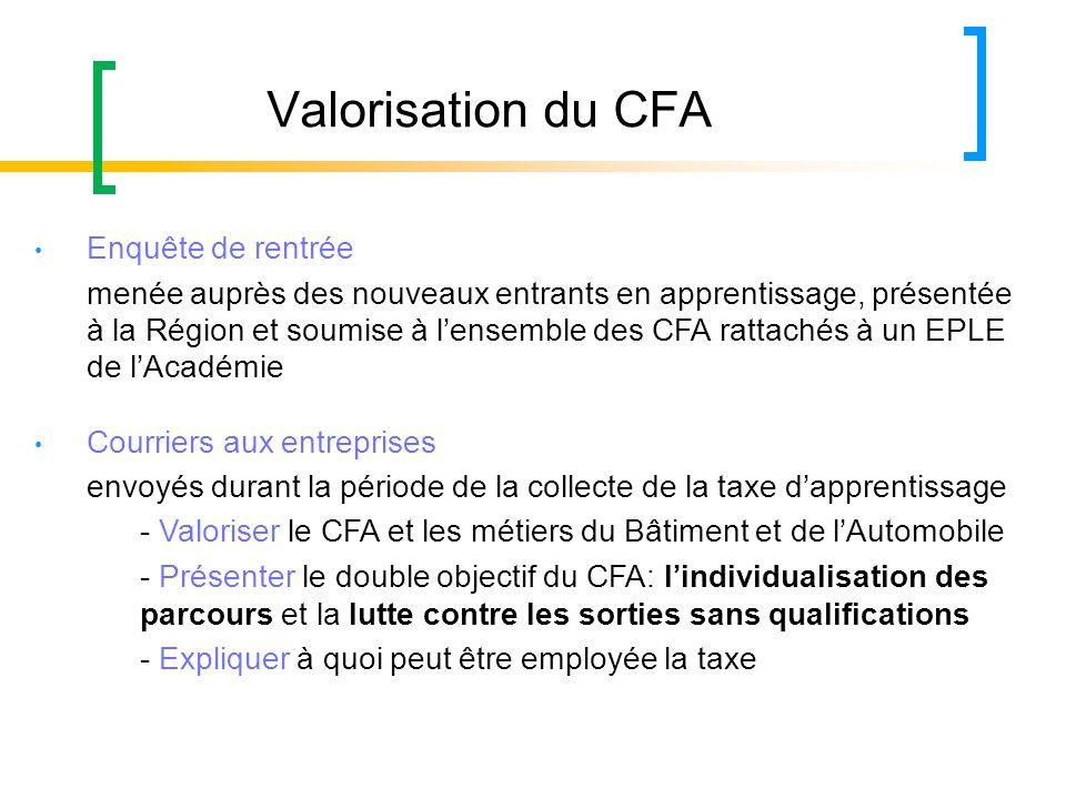 Valorisation du CFA Enquête de rentrée menée auprès des nouveaux entrants en apprentissage, présentée à la Région et soumise à lensemble des CFA ratta