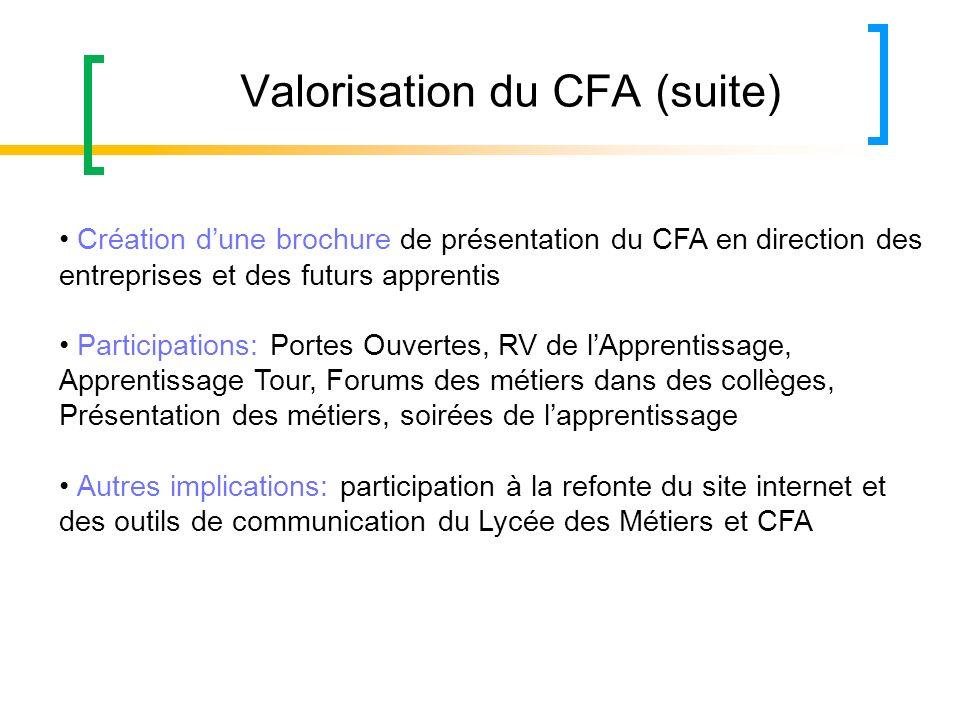 Valorisation du CFA (suite) Création dune brochure de présentation du CFA en direction des entreprises et des futurs apprentis Participations: Portes
