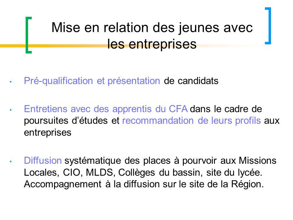 Mise en relation des jeunes avec les entreprises Pré-qualification et présentation de candidats Entretiens avec des apprentis du CFA dans le cadre de