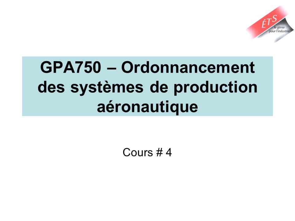 GPA750 – Ordonnancement des systèmes de production aéronautique Cours # 4