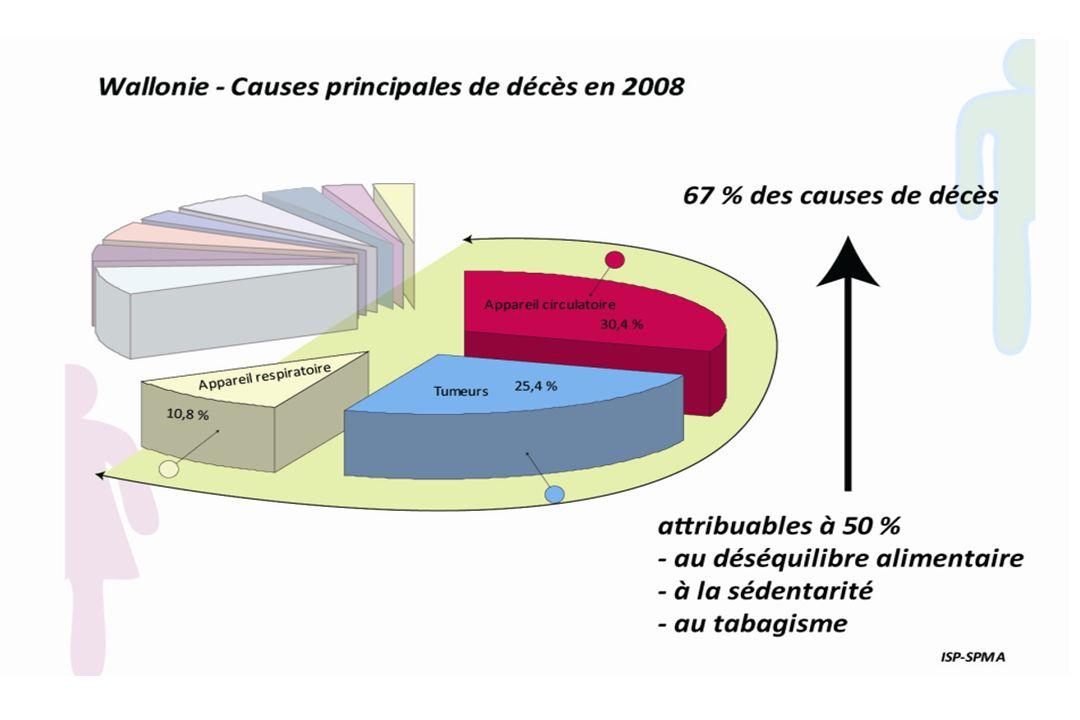 Causes de mortalité – Communauté française (sans Bxl) – 2004 Hommes 5 242 5 103