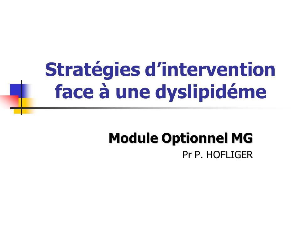 Stratégies dintervention face à une dyslipidéme Module Optionnel MG Pr P. HOFLIGER