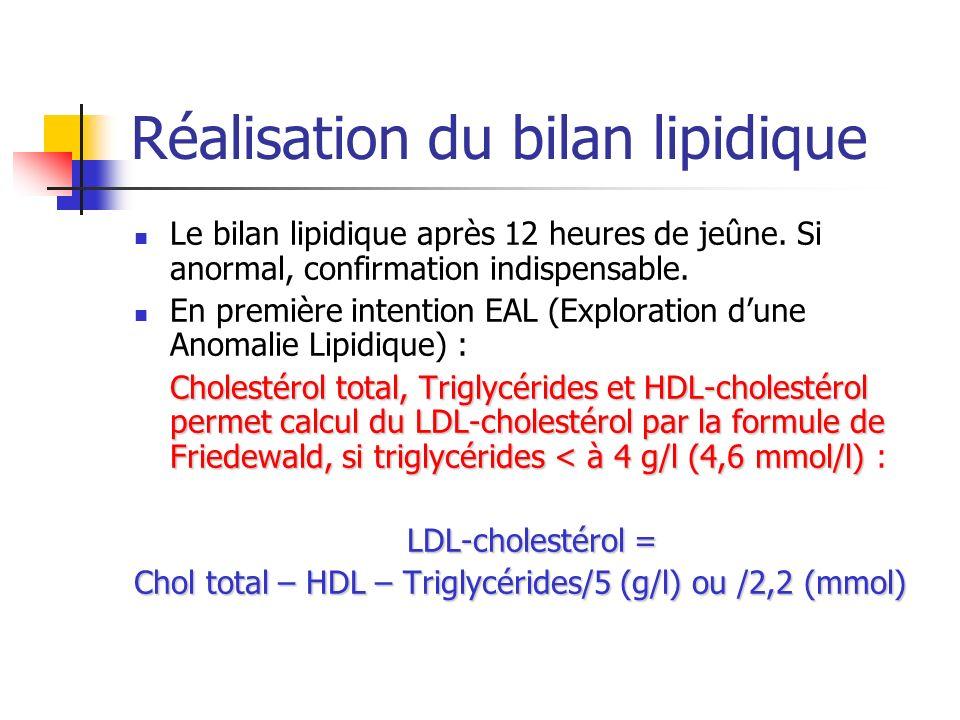 Bilan de dépistage Patient sans facteur de risque, bilan lipidique normal si: LDLcholestérol< 1,60 g/l (4,1 mmol/l), Triglycérides < 1,50 g/l (1,7 mmol/l) HDL-cholestérol > 0,40 g/l (1 mmol/l).