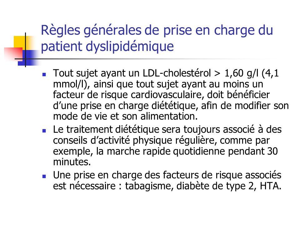 Règles générales de prise en charge du patient dyslipidémique Tout sujet ayant un LDL-cholestérol > 1,60 g/l (4,1 mmol/l), ainsi que tout sujet ayant