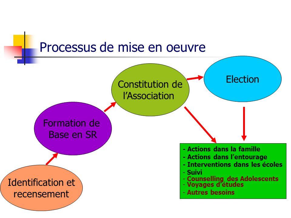 Processus de mise en oeuvre Identification et recensement Election Constitution de lAssociation Formation de Base en SR - Actions dans la famille - Ac