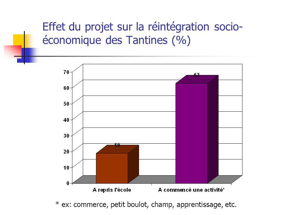 Effet du projet sur la réintégration socio- économique des Tantines (%) * ex: commerce, petit boulot, champ, apprentissage, etc.