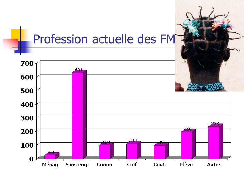 Profession actuelle des FM