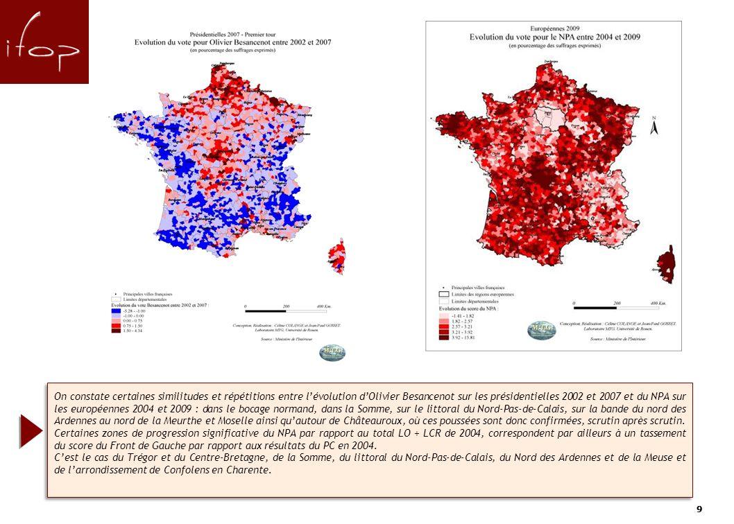 99 On constate certaines similitudes et répétitions entre lévolution dOlivier Besancenot sur les présidentielles 2002 et 2007 et du NPA sur les européennes 2004 et 2009 : dans le bocage normand, dans la Somme, sur le littoral du Nord-Pas-de-Calais, sur la bande du nord des Ardennes au nord de la Meurthe et Moselle ainsi quautour de Châteauroux, où ces poussées sont donc confirmées, scrutin après scrutin.