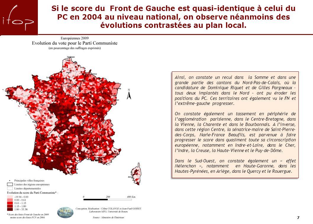 7 Ainsi, on constate un recul dans la Somme et dans une grande partie des cantons du Nord-Pas-de-Calais, où la candidature de Dominique Riquet et de Gilles Pargneaux - tous deux implantés dans le Nord – ont pu éroder les positions du PC.