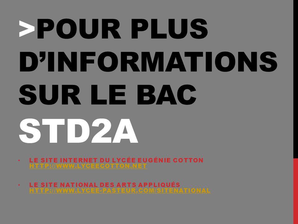 >POUR PLUS DINFORMATIONS SUR LE BAC STD2A LE SITE INTERNET DU LYCÉE EUGÉNIE COTTON HTTP://WWW.LYCEECOTTON.NET HTTP://WWW.LYCEECOTTON.NET LE SITE NATIONAL DES ARTS APPLIQUÉS HTTP://WWW.LYCEE-PASTEUR.COM/SITENATIONAL HTTP://WWW.LYCEE-PASTEUR.COM/SITENATIONAL