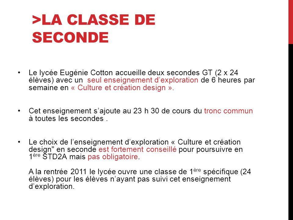 >LA CLASSE DE SECONDE Le lycée Eugénie Cotton accueille deux secondes GT (2 x 24 élèves) avec un seul enseignement dexploration de 6 heures par semaine en « Culture et création design ».