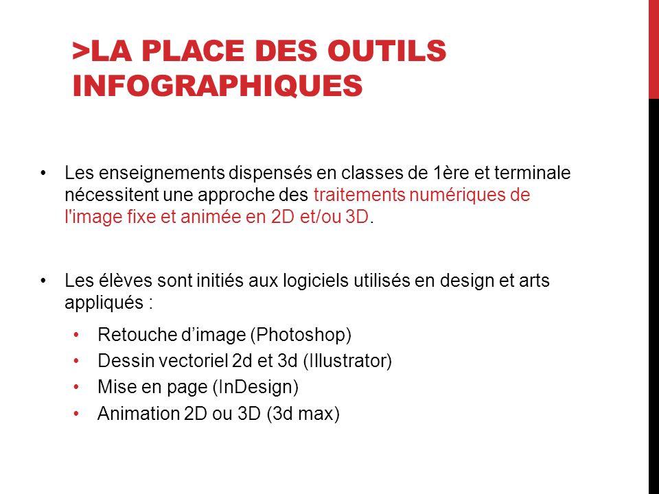 >LA PLACE DES OUTILS INFOGRAPHIQUES Les enseignements dispensés en classes de 1ère et terminale nécessitent une approche des traitements numériques de l image fixe et animée en 2D et/ou 3D.