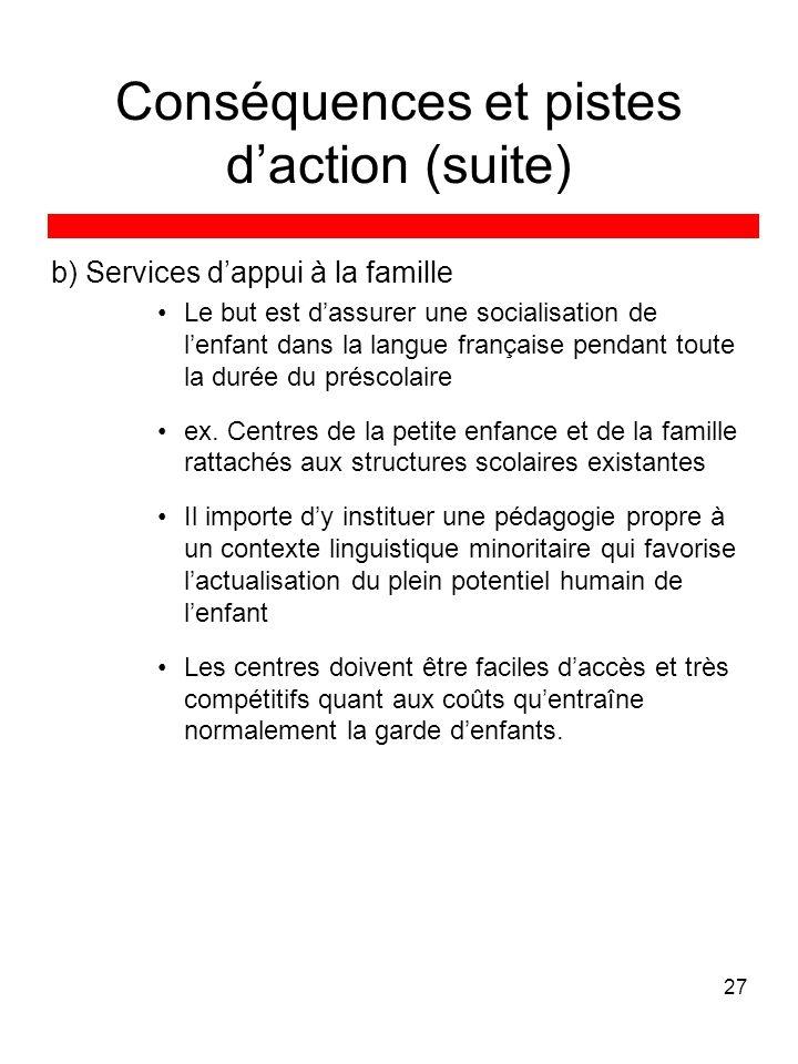 27 Conséquences et pistes daction (suite) b) Services dappui à la famille Le but est dassurer une socialisation de lenfant dans la langue française pendant toute la durée du préscolaire ex.