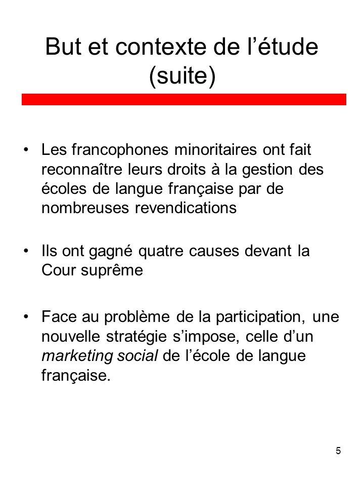 5 But et contexte de létude (suite) Les francophones minoritaires ont fait reconnaître leurs droits à la gestion des écoles de langue française par de