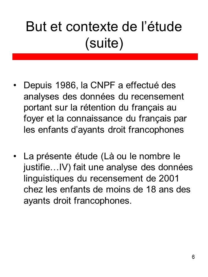6 But et contexte de létude (suite) Depuis 1986, la CNPF a effectué des analyses des données du recensement portant sur la rétention du français au fo