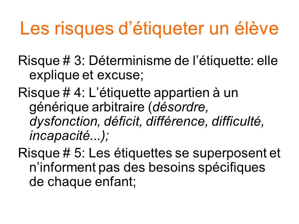 Les risques détiqueter un élève Risque # 3: Déterminisme de létiquette: elle explique et excuse; Risque # 4: Létiquette appartien à un générique arbitraire (désordre, dysfonction, déficit, différence, difficulté, incapacité...); Risque # 5: Les étiquettes se superposent et ninforment pas des besoins spécifiques de chaque enfant;