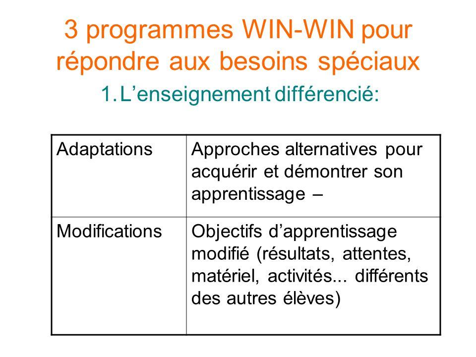 3 programmes WIN-WIN pour répondre aux besoins spéciaux 1.Lenseignement différencié: AdaptationsApproches alternatives pour acquérir et démontrer son