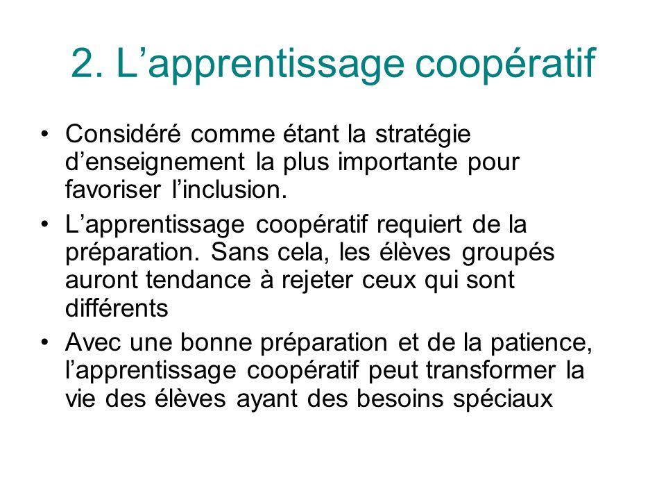2. Lapprentissage coopératif Considéré comme étant la stratégie denseignement la plus importante pour favoriser linclusion. Lapprentissage coopératif