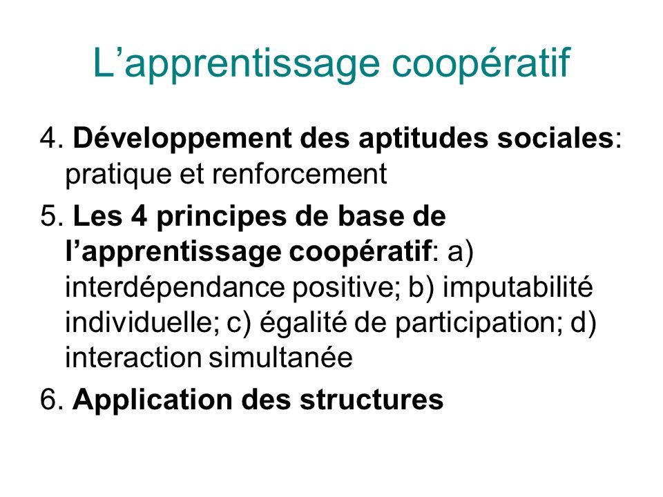 Lapprentissage coopératif 4. Développement des aptitudes sociales: pratique et renforcement 5. Les 4 principes de base de lapprentissage coopératif: a