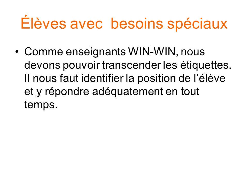 3 programmes WIN-WIN pour répondre aux besoins spéciaux 1.Lenseignement différencié 2.Lapprentissage coopératif 3.Lapplication de la théorie des intelligences multiples
