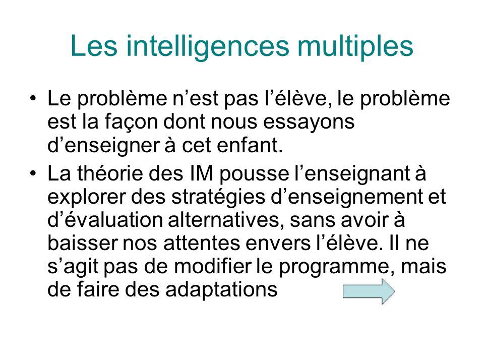 Les intelligences multiples Le problème nest pas lélève, le problème est la façon dont nous essayons denseigner à cet enfant. La théorie des IM pousse