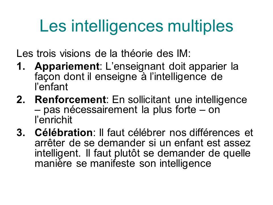 Les intelligences multiples Les trois visions de la théorie des IM: 1.Appariement: Lenseignant doit apparier la façon dont il enseigne à lintelligence