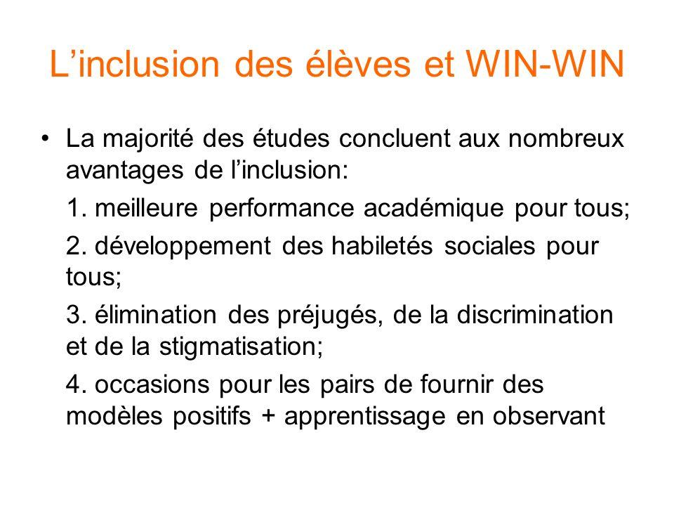 Linclusion des élèves et WIN-WIN La majorité des études concluent aux nombreux avantages de linclusion: 1. meilleure performance académique pour tous;