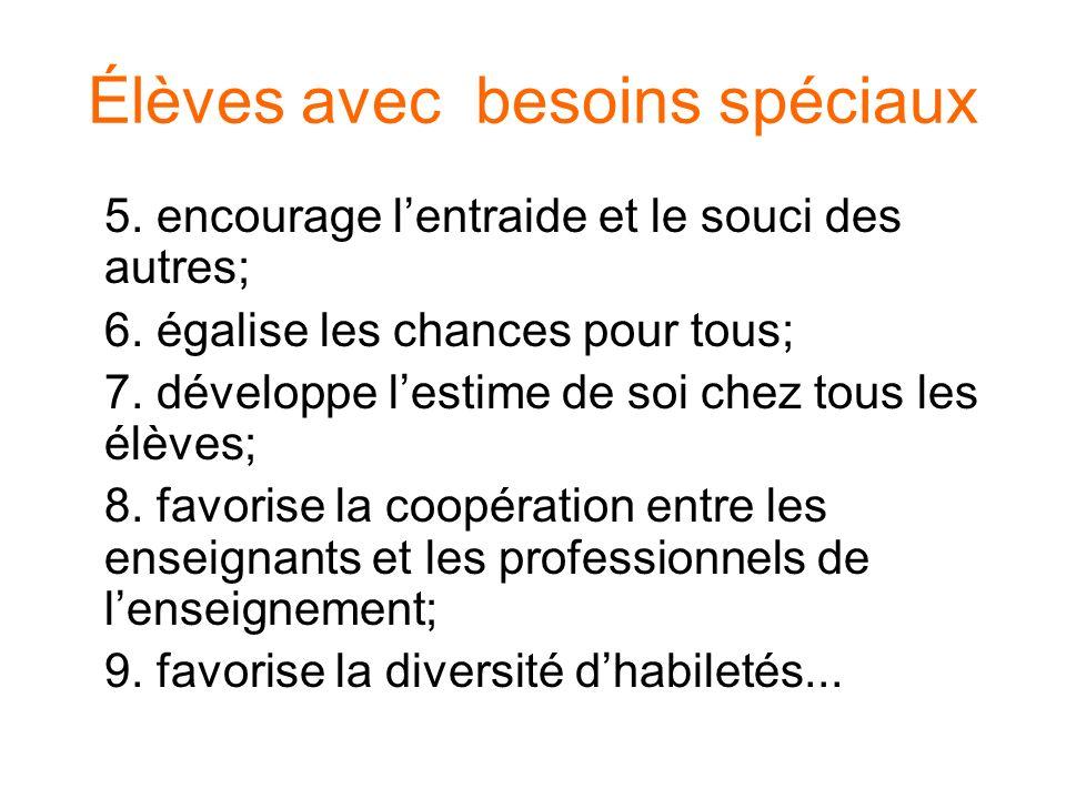 Élèves avec besoins spéciaux 5. encourage lentraide et le souci des autres; 6. égalise les chances pour tous; 7. développe lestime de soi chez tous le