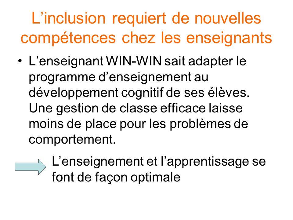 Linclusion requiert de nouvelles compétences chez les enseignants Lenseignant WIN-WIN sait adapter le programme denseignement au développement cogniti