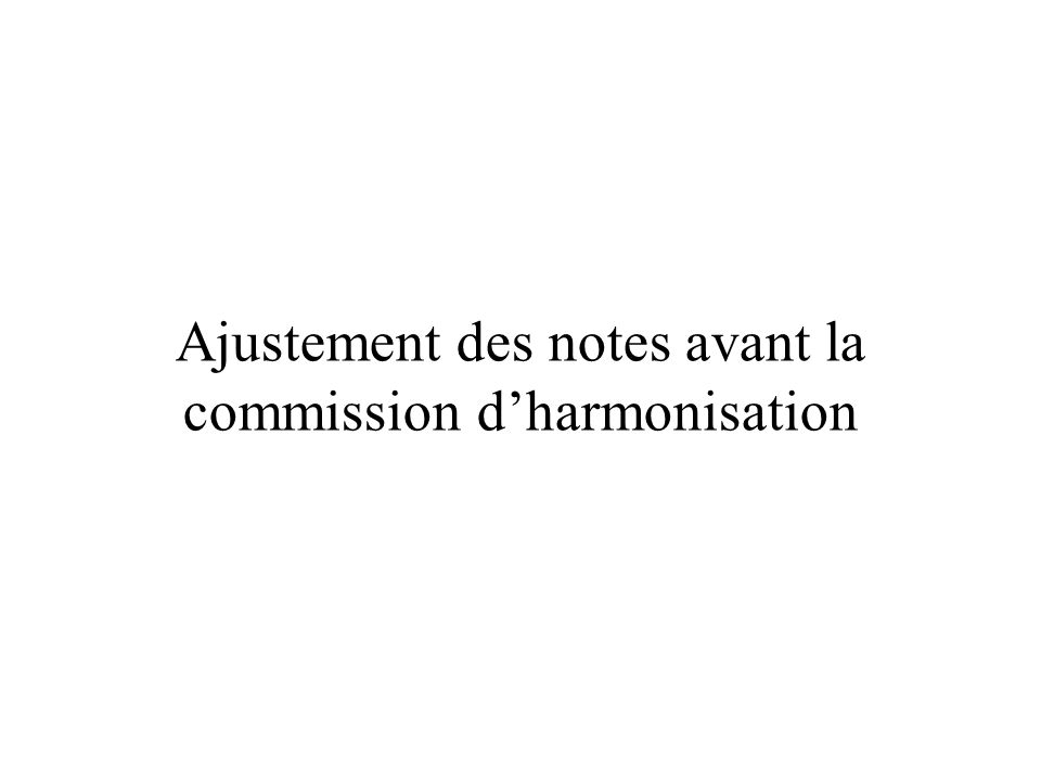 Ajustement des notes avant la commission dharmonisation