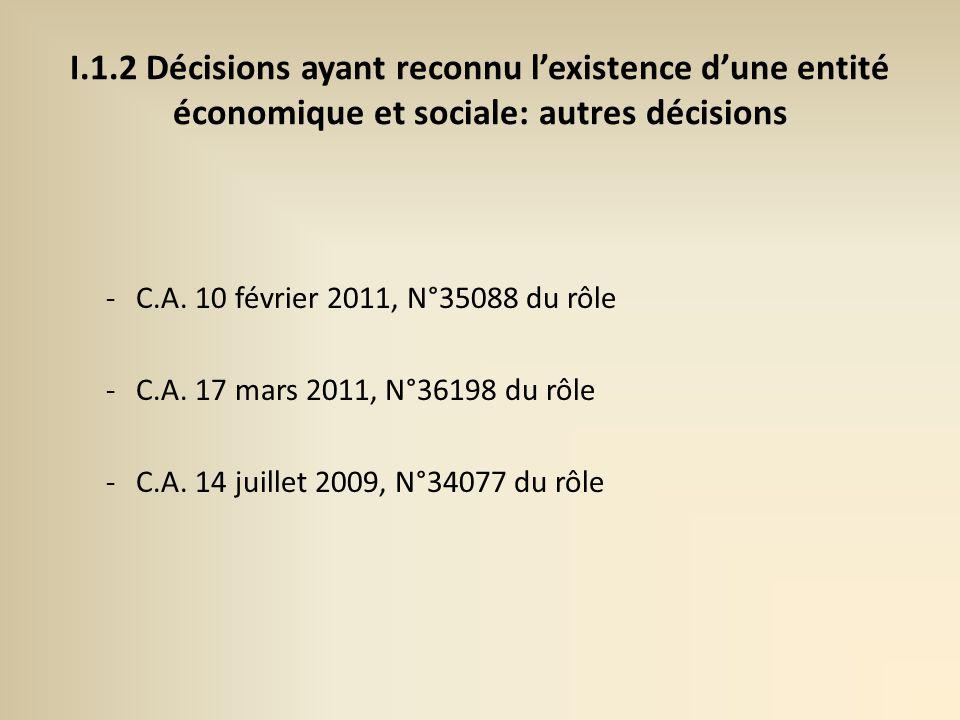 I.1.2 Décisions ayant reconnu lexistence dune entité économique et sociale: autres décisions -C.A.
