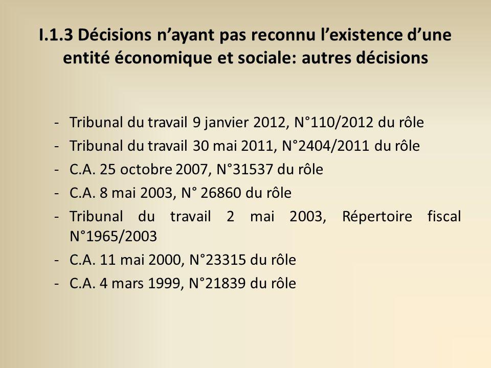 I.1.3 Décisions nayant pas reconnu lexistence dune entité économique et sociale: autres décisions -Tribunal du travail 9 janvier 2012, N°110/2012 du rôle -Tribunal du travail 30 mai 2011, N°2404/2011 du rôle -C.A.