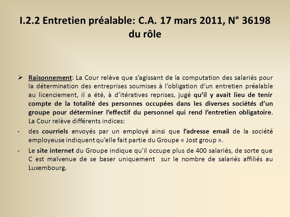 I.2.2 Entretien préalable: C.A.