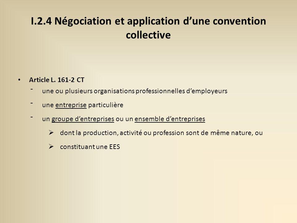 I.2.4 Négociation et application dune convention collective Article L.
