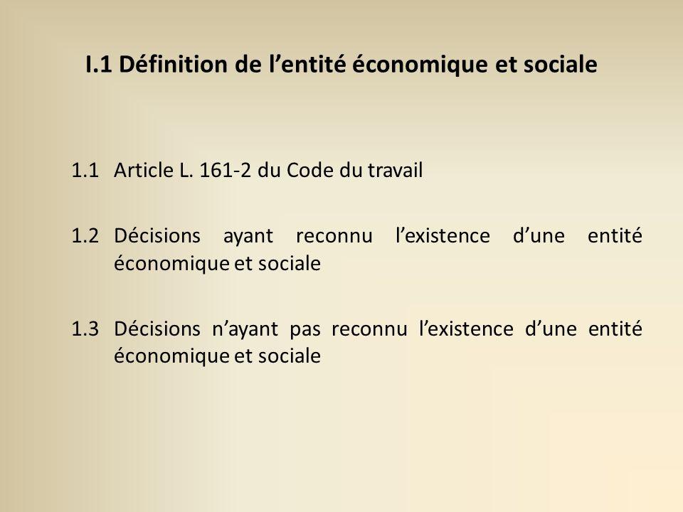I.1 Définition de lentité économique et sociale 1.1Article L.