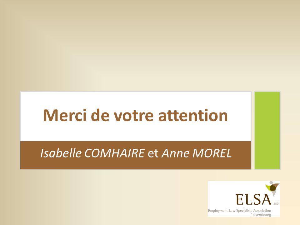 Merci de votre attention Isabelle COMHAIRE et Anne MOREL