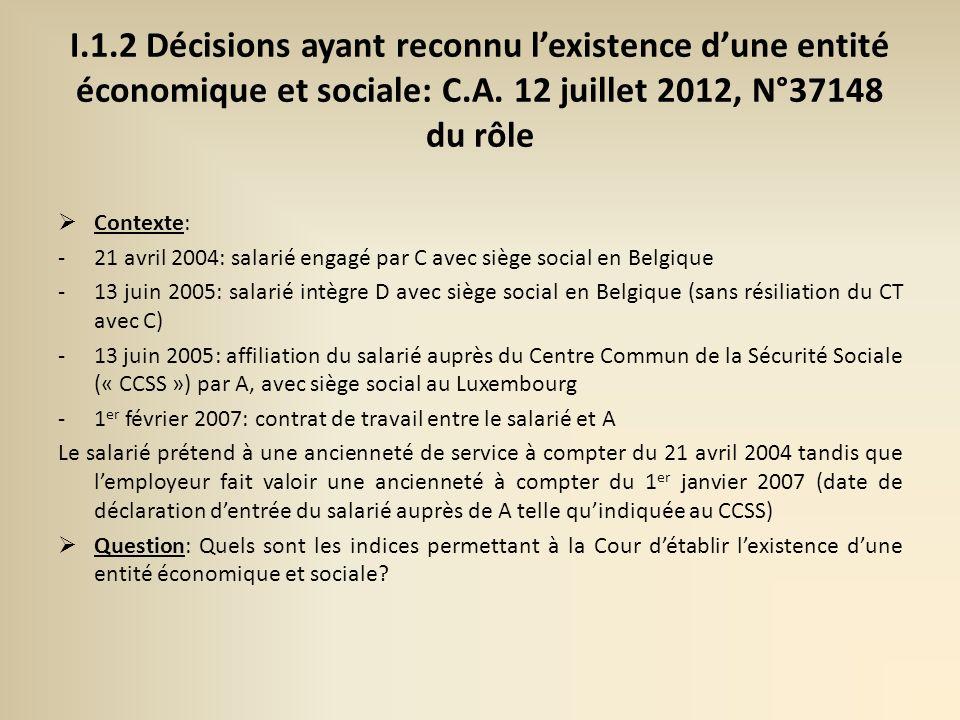 II.2 Licenciement économique au sein dun groupe de sociétés: C.A.