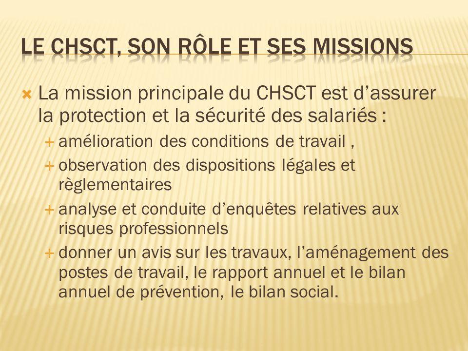 La mission principale du CHSCT est dassurer la protection et la sécurité des salariés : amélioration des conditions de travail, observation des dispos