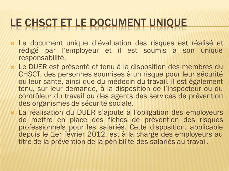 Le document unique dévaluation des risques est réalisé et rédigé par lemployeur et il est soumis à son unique responsabilité. Le DUER est présenté et