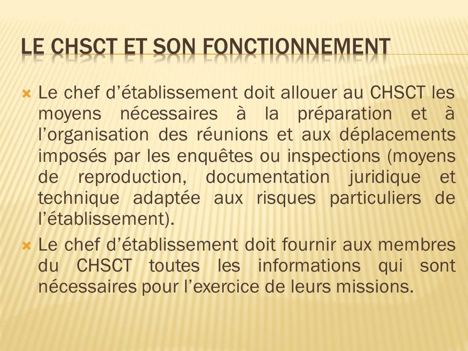Le chef détablissement doit allouer au CHSCT les moyens nécessaires à la préparation et à lorganisation des réunions et aux déplacements imposés par l
