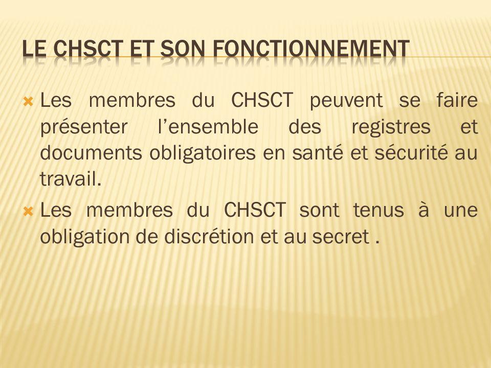 Les membres du CHSCT peuvent se faire présenter lensemble des registres et documents obligatoires en santé et sécurité au travail. Les membres du CHSC