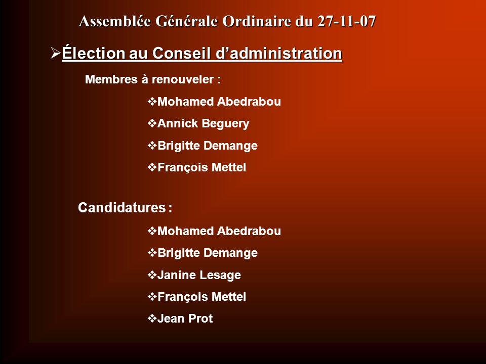 Élection au Conseil dadministration Membres à renouveler : Mohamed Abedrabou Annick Beguery Brigitte Demange François Mettel Candidatures : Mohamed Ab