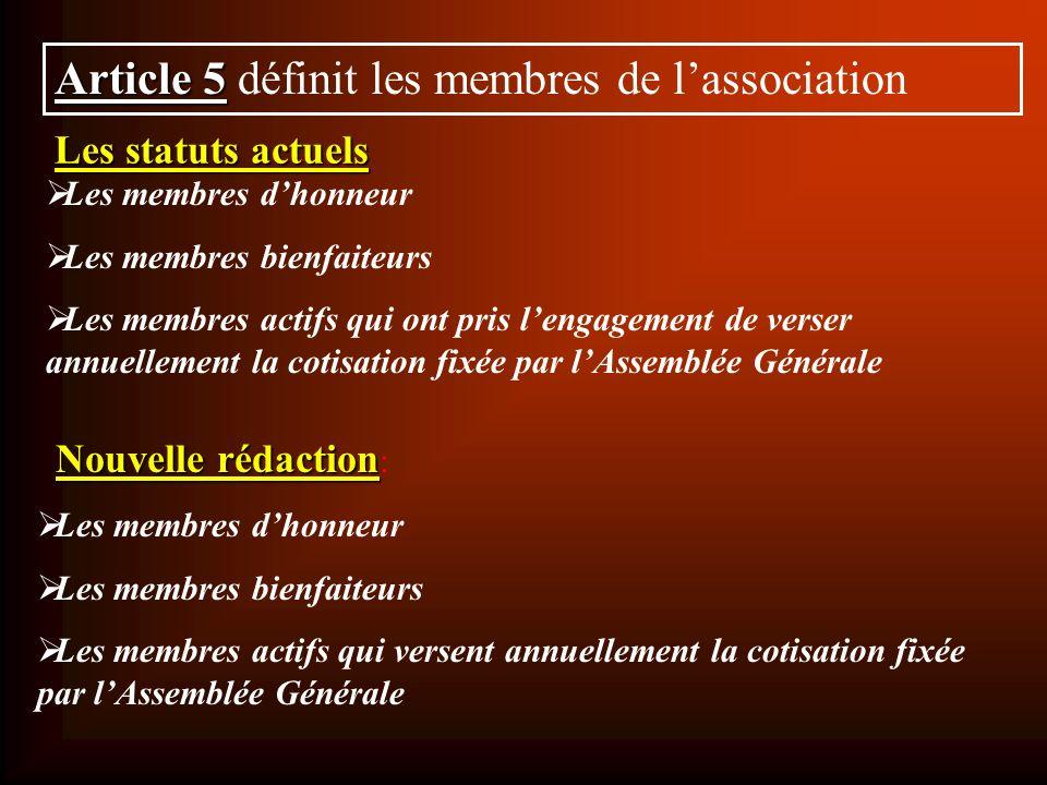 Les statuts actuels Article 5 Article 5 définit les membres de lassociation Les membres dhonneur Les membres bienfaiteurs Les membres actifs qui ont p