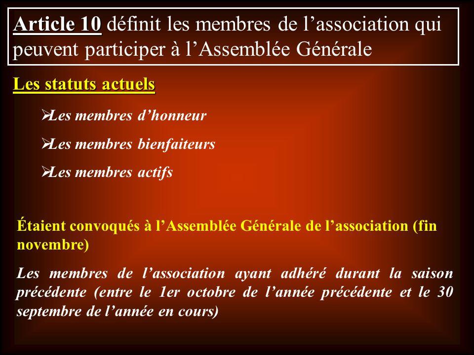 Article 10 Article 10 définit les membres de lassociation qui peuvent participer à lAssemblée Générale Les membres dhonneur Les membres bienfaiteurs L