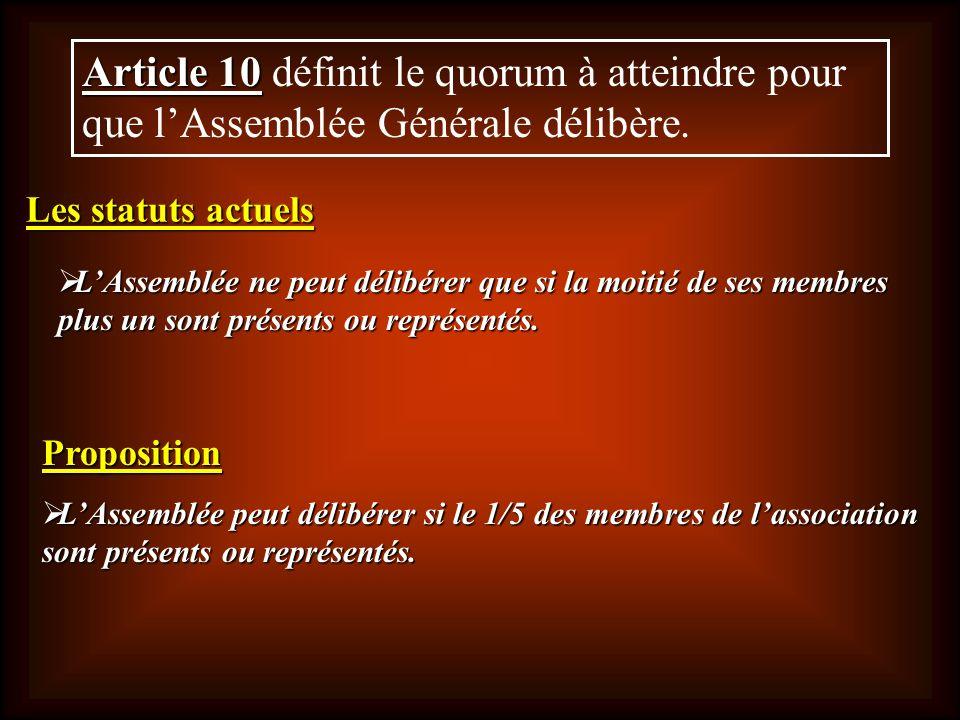 Article 10 Article 10 définit le quorum à atteindre pour que lAssemblée Générale délibère. LAssemblée ne peut délibérer que si la moitié de ses membre
