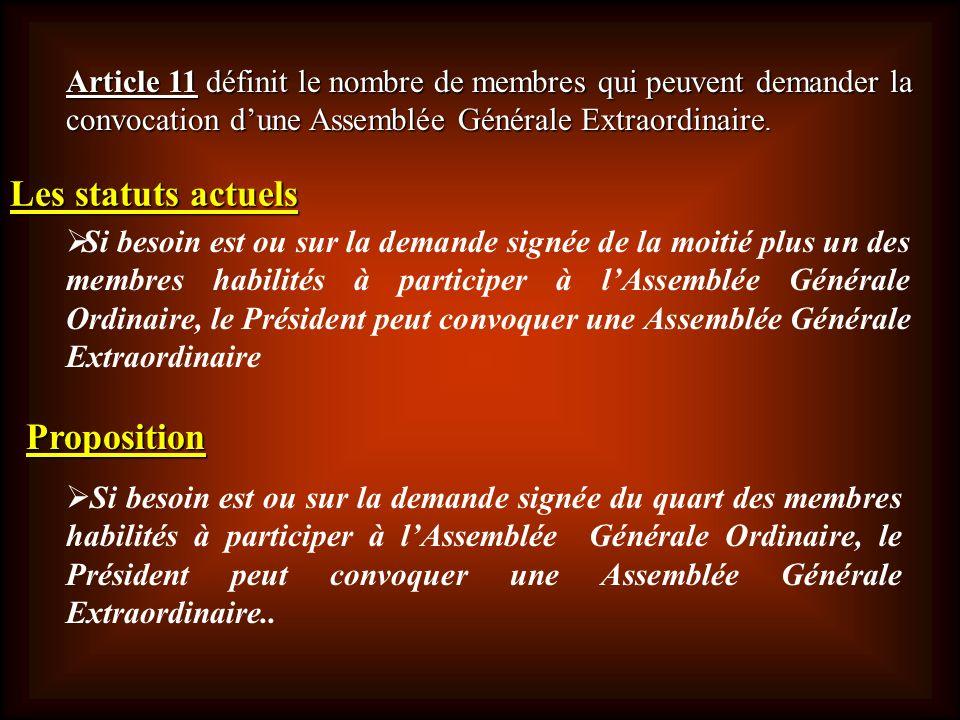 Article 11définit le nombre de membres qui peuvent demander la convocation dune Assemblée Générale Extraordinaire. Article 11 définit le nombre de mem