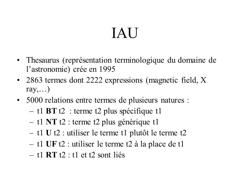 Recherche termes IAU / CORPUS APJ –1999 : 865 termes retrouvés –2002 : 877 termes retrouvés A&A –1995 : 832 termes retrouvés –2002 : 884 termes 588 termes communs aux 4 corpus IAU adapté à lindexation de nos corpus