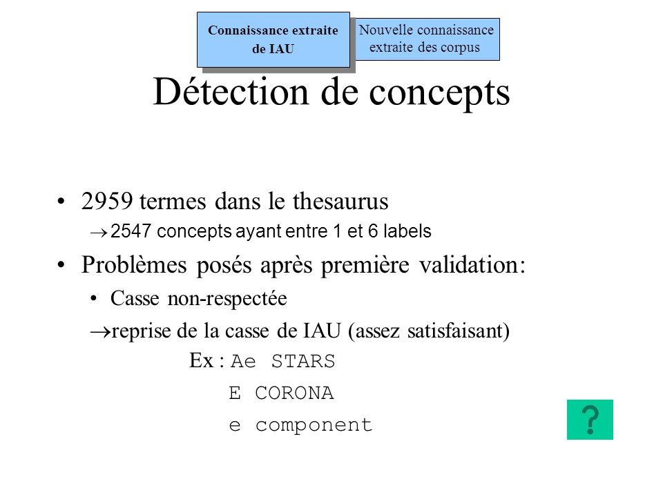 Labels ambiguës (définissant plusieurs concepts) harmonic overtones est label overtones est label des des concepts :concepts: HARMONIC FREQUENCIES OVERTONE FREQUENCIES OVERTONE FREQUENCIES OVERTONE MODES isolés et à valider individuellement Concepts ou labels trop éloignés de lastronomie CONCEPT : AZIMUTH bearing Détection de concepts Nouvelle connaissance extraite des corpus Connaissance extraite de IAU