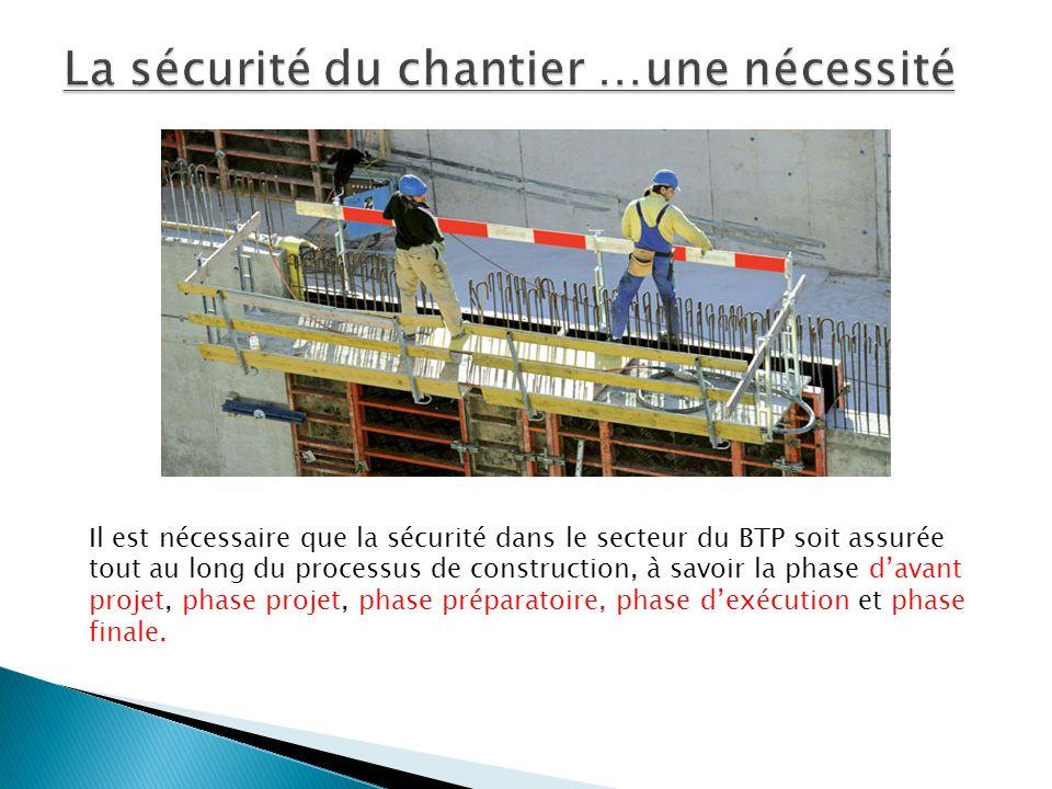 Il est nécessaire que la sécurité dans le secteur du BTP soit assurée tout au long du processus de construction, à savoir la phase davant projet, phase projet, phase préparatoire, phase dexécution et phase finale.