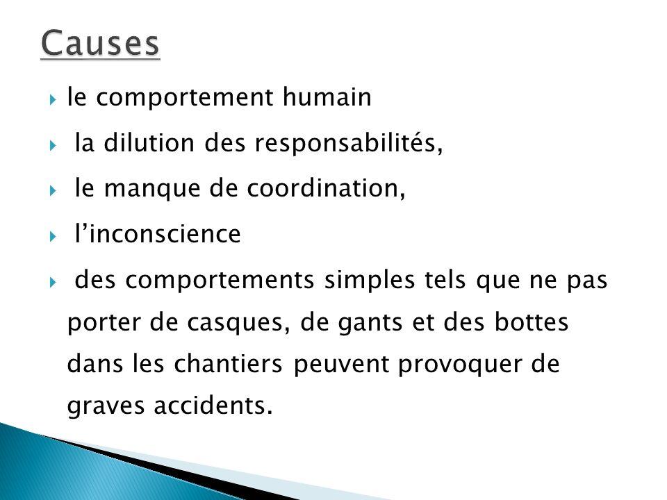 le comportement humain la dilution des responsabilités, le manque de coordination, linconscience des comportements simples tels que ne pas porter de casques, de gants et des bottes dans les chantiers peuvent provoquer de graves accidents.